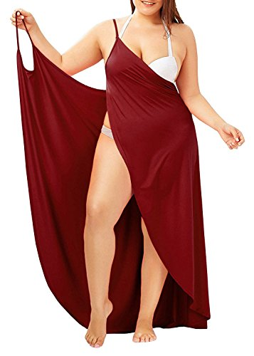 Womens Bikini Beach Cover Ups - Plus Size Spaghetti Strap Cover Up for Swimwear Backless Bathing Swimsuit Wrap Long Dress Red (Best Tattoo Shop For Cover Ups)