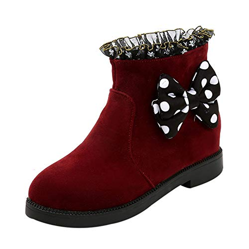 Women Snow Boots,Sunyastor Fashion Winter Warm Bowknot Dot Lace Increase Flock Thick Short Boots Round Toe Ankle Shoes for $<!--$21.77-->