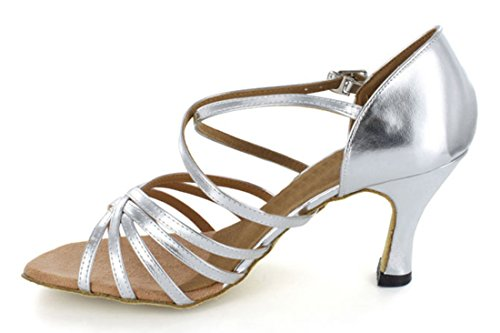Comfortable Tango Dance Salsa Latin Shoes Ballroom Peep Silver TDA thetic Wedding Toe Womens Modern TwxqMY6p