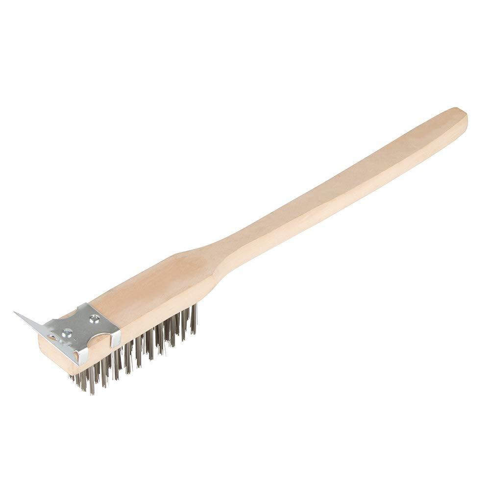 Update International BRW-20HD 20 Long Handle Wire Brush with Scraper Wood Block /& S//Bristal