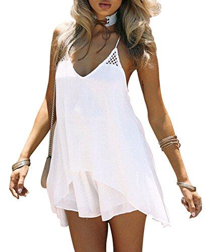 Kingfung Women's Summer Casual Sundress Chiffon Sleeveless Tank Beach Shift Dress(White,XL)