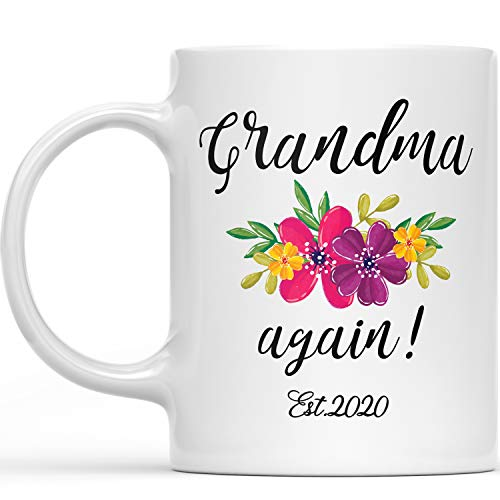 Grandma Again Est 2020 Mug - Promoted To Grandma 2020 Best Baby Reveal Gift For Grandmother - New Parents Expecting Grandma Pregnancy Surprise Grandparent Announcement Gifts Floral Coffee Cup 11oz