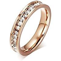 خواتم كلاسيكية عصرية من الستانلس ستيل مطلية بذهب وردي 18 قيراط، بسطر واحد من الماس للنساء قياس US6