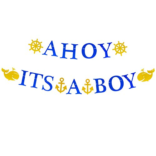 Ahoy Its A Boy Baby Banner Shower Nautical Themed Whale Anchor Sailor Garland Birthday Party Favor Decorations [Large Size]
