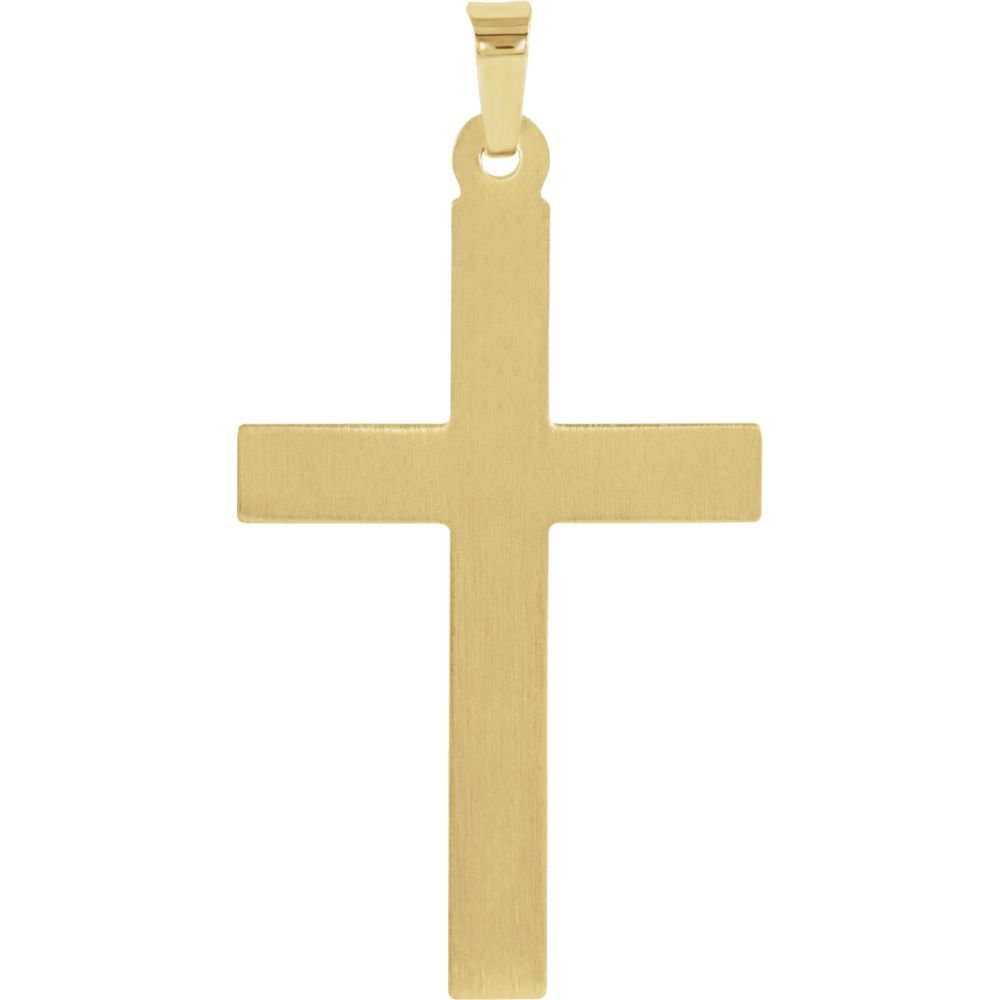 FB Jewels 14K Yellow and White Two Tone Gold 29x19mm Hollow Cross Pendant