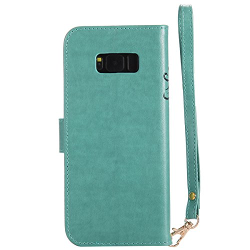 Samsung Galaxy S8 Plus Funda, CaseFirst Flip Billetera Cover Protección Soporte Anti-arañazos Protector a prueba de golpes Shell con función de soporte y ranuras (Púrpura) Verde
