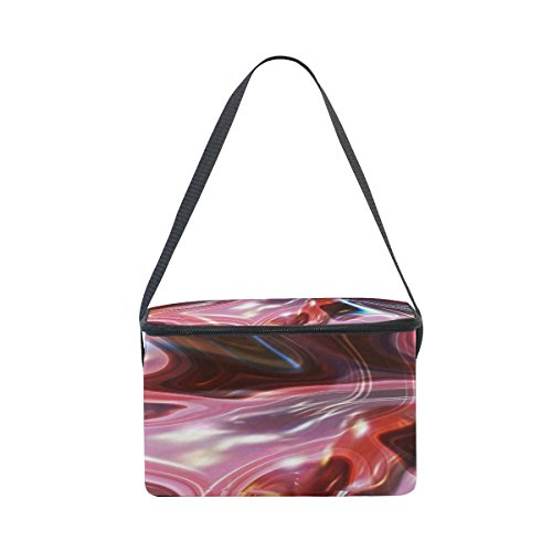 Red Aurora Marble Lunch Boxs Thermal Insulated Cooler Bags For Work Men Women