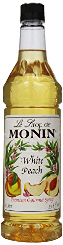 Monin Flavored Syrup, White Peach, 33.8-Ounce Plastic Bottles (Pack of 4)