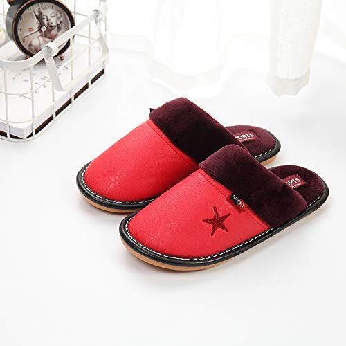 Lihin Warm Color : Red, Size : 1 Comfortable Soft Touch Winter Couple Cotton Slippers Men and Women Waterproof Platform Home Indoor Non-Slip Warm PU Leather Slippers