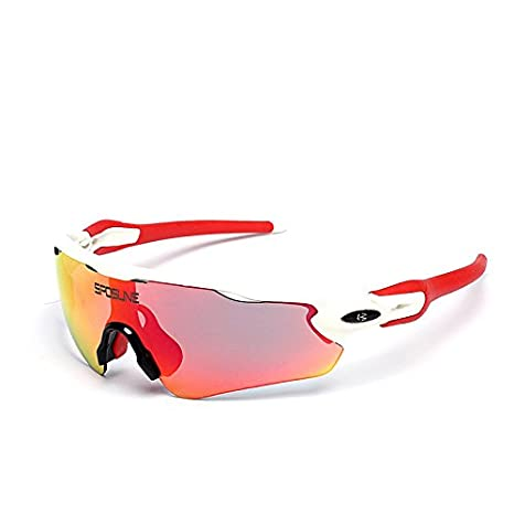 38ec17364b EDtara Polarized Cycling Sunglasses Outdoor Sports UV400 Protection Glass  with 5 Interchangeable Lens for Men Women