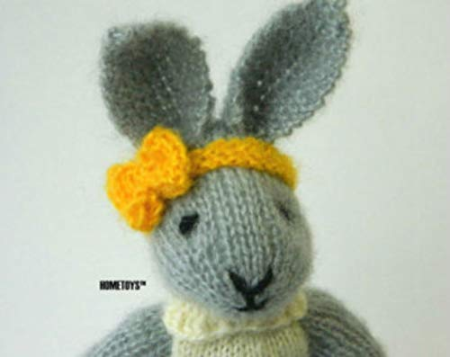Knitted Bunny Doll Soft Stuffed Animal toys for Girls Grey White Brown Rabbit