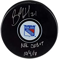 $95 » Brett Howden New York Rangers FAN Autographed Signed Hockey Puck With Nhl Debut 10/4/18 Inscription - Certified Signature