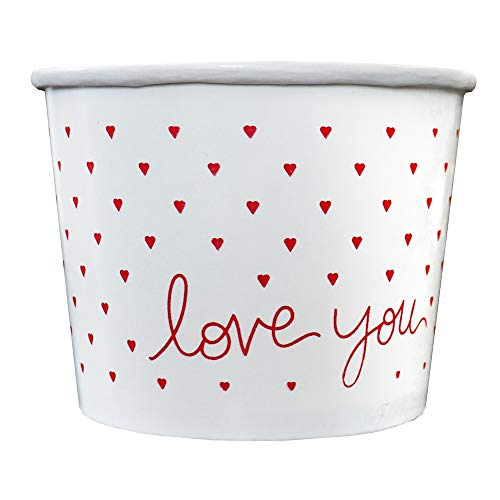 Valentine's Day Paper Ice Cream Cups - 12 oz Dessert Bowls Perfect For Magical Romantic Valentine's Day Parties!