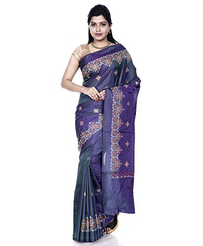 Mandakini — Indian Women's - Art Silk Saree - With Kasuti Embroidery (Grayish - Indian Online Shopping