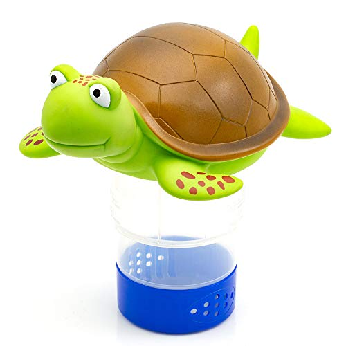 WWD Chlorine Floater, Turtle Floating Pool Chlorine Dispenser Fits 3' Chlorine Tablets for Pool, Bromine Holder
