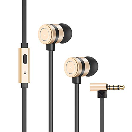 Earbuds, in-Ear Headphones Noise Isolation Headsets Heavy Bass Earphones with Microphone Compatible iPhone Samsung iPad and Most Android Phones (Gold)