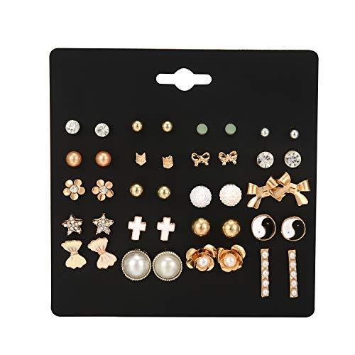 Gold Star Heart - Flowetry Stainless-Steel Stud Earrings Set Bohemian Pearl Moon Star Heart Earrings for Women Girl