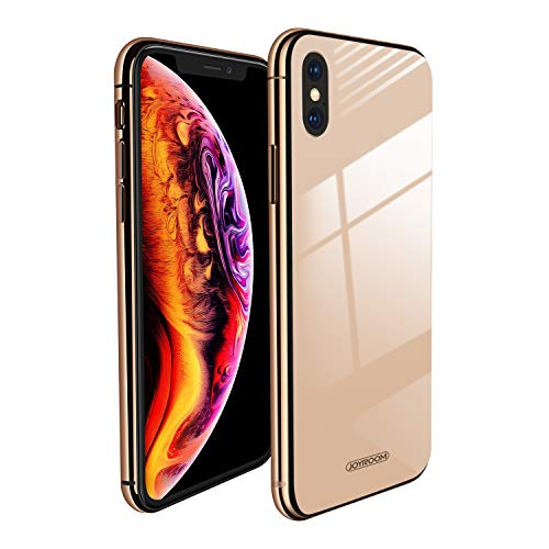 for iPhone X/ iPhone Xs Metal Bumper + 9H Tempered Glass Hard Back (Gold) Slim Fit Case (Without Shell Feeling) Same Look, Joyroom Xs/X Excellent Anti-Scratch (Nontransparent) Glass 5.8 Cover Case