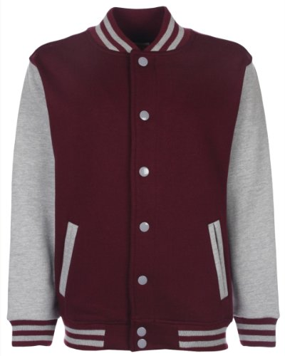 fdm Junior/Childrens Big Boys Varsity Jacket (Contrast Sleeves) (11-13 years) (Burgundy/Heather -