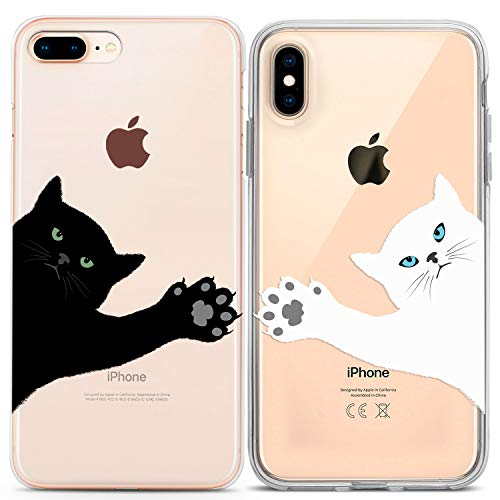 Lex Altern Couple iPhone Case Xs Max X Xr 10 8 Plus 7 6s 6 SE 5s 5 Paw TPU Clear Cat Apple Girlfriend Best Friend BFF Phone Black Cover Anniversary White Print Protective Matching Kawaii