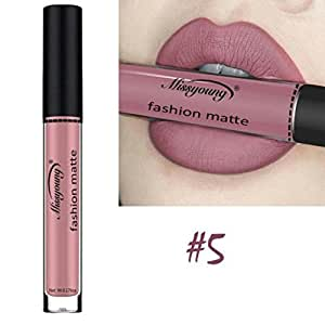 Women Cosmetics Matte Lip Gloss & Metallic Lip brillant Moisturizing Long-lasting Luster Lipstick (Miss young 05)
