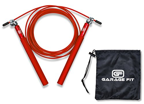 Garage Fit Speed Jump Rope - Cable Jump Rope - Speed Rope - Jumping Ropes for Fitness with Carry Bag (Red)