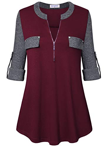 - Bulotus Tunic Tops for Leggings for Women Plus Size Shirts (Burgundy Grey Patchwork, X-Large)