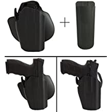 Safariland Rogers Holster RUGER 9E SR-40 SR-45 SR-9 Pro-Fit 578-283-411 7TS GLS Compact Frame Multi-Fit Paddle & Belt Right Hand, Black + Ultimate Arms Gear 9mm/.40/.45 Mag Pouch