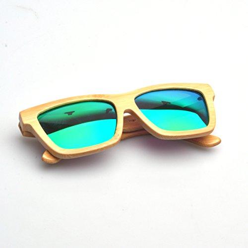 gafas madera de natural de verde Marcos de sol lente bambú Artesanal polarizado w0xU6qnPnv