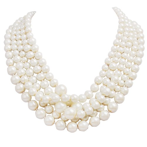 Jane Stone Fashion Faux Pearls collar Necklace Multi-layer Vintage (Strand Multi Stone Necklace)