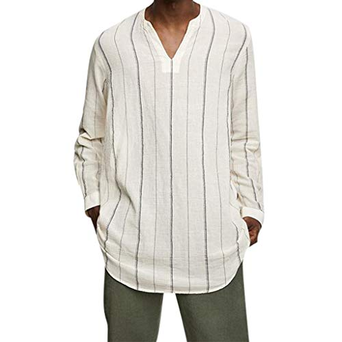 Mens Fashion Casual Bamboo Cotton Long Sleeve V-Neck