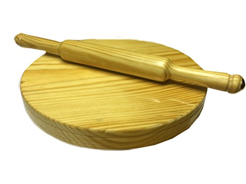 Valentine Day Special Present, WOODEN CHAKLA, CHAPATI (ROTI) MAKER SMALL, CIRCULAR BOARD (CHAKLA ), WITH ROLLING PIN (BELAN) YELLOW COLOR SIZE 9 X 9 INCH