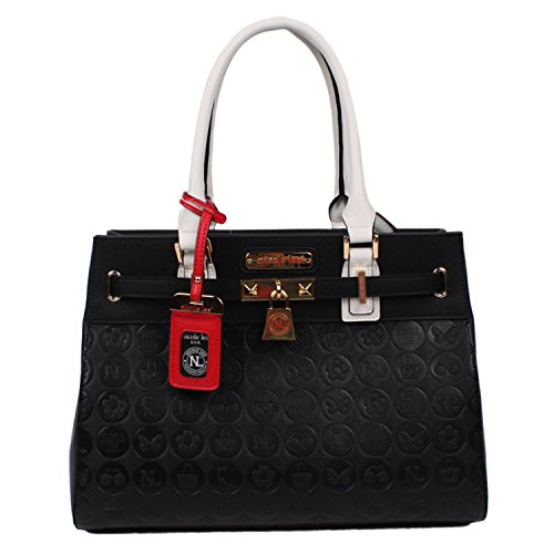 tote-handbag-nicole-lee-embossed-faux-leather-white-for-women-black