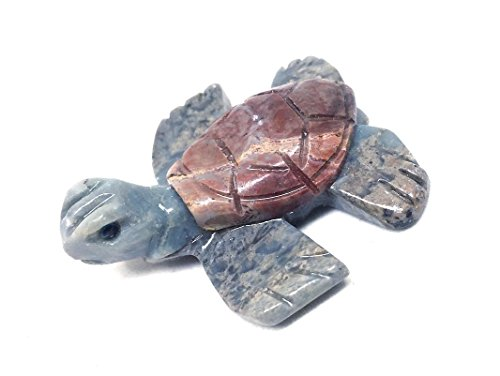 Nelson Creations Sea Turtle Soapstone Animal Carving Charm Totem Figurine | - Carved Turtle Hand