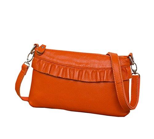 100% Genuine Leather Women Retro Luxury Satchel Shoulder Messenger Bags Small Necessaire Clutch Tote For Ladies - Orange