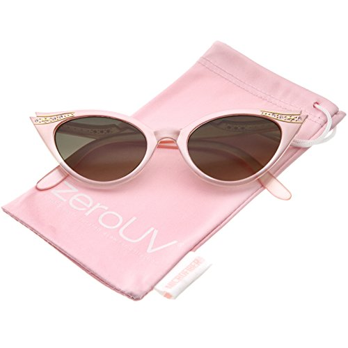 zeroUV - Women's Retro Rhinestone Embellished Cat Eye Sunglasses 51mm (Pink / Smoke Gradient) (Fifties Cat Eye Rhinestone Glasses)