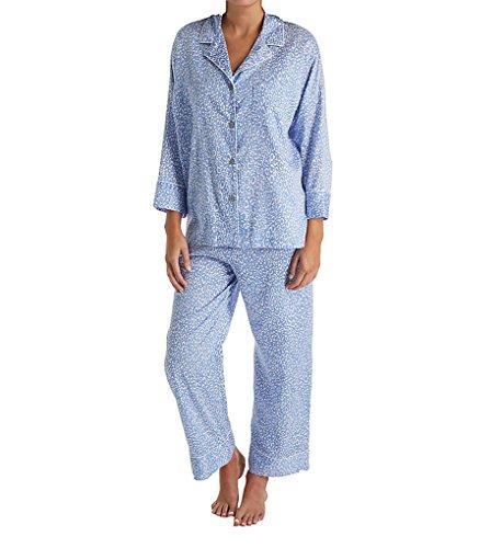 Natori Women's Cotton Sateen Pajama Set, Blue Animal, M]()
