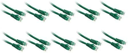 10 Pack 2.1M Cat 5e Snagless Molded Boot Cable for PC // Router // PS4 // XBOX // Modem Green ED746520 350Mhz, 7 FT 7 Feet//2.1 Meters Cat5e Networking Ethernet UTP Patch Cable