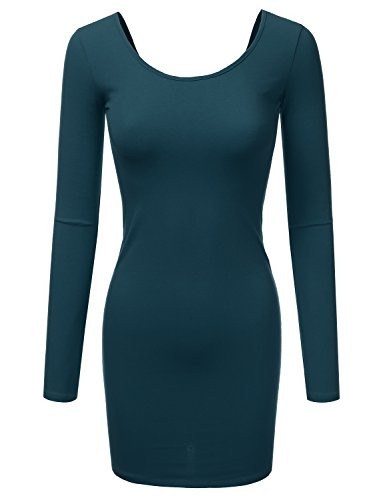 Doublju Stretchy Cotton Long Sleeve Slim Fit Tunic Mini Dress For Women With Plus Size (Made In USA) Teal - Usa Be Active