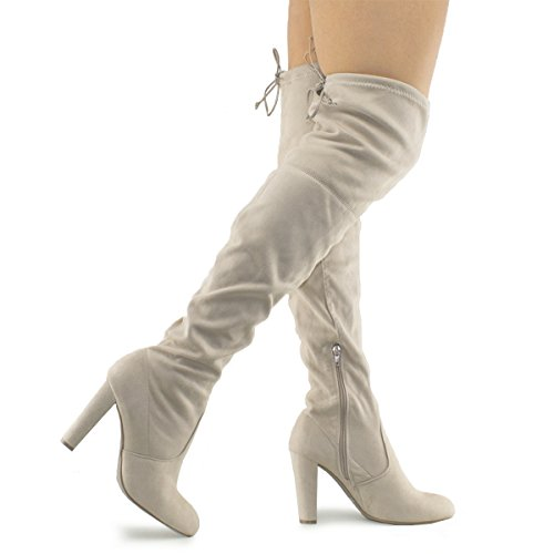 Premier Standard Women's Over The Knee Boot - Sexy Over The Knee Pullon Boot - Trendy Low Block Heel Shoe - Comfortable Easy Heel Boot, TPS Amaya-01 v2 Natural Size 10