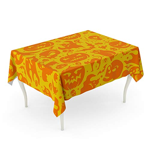 Tarolo Rectangle Tablecloth 52 x 70 Inch Brown Doodle Halloween Pumpkin Cat Bat Ghost Skull Yellow Pattern Graveyard Autumn Bone Table Cloth -