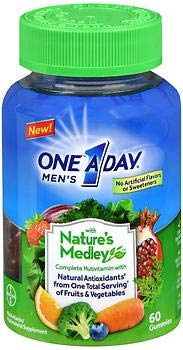 One A Day Nature's Medley Men's Complete Multivitamin, 60 Gummies (Pack of 2) ()