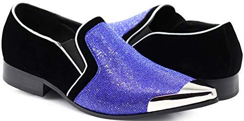 Enzo Romeo Crisiano Men Rhinestone Chrome Toe Suede Pointy Dress Loafer Slip On Shoes (12 D(M) US, Royal Blue)