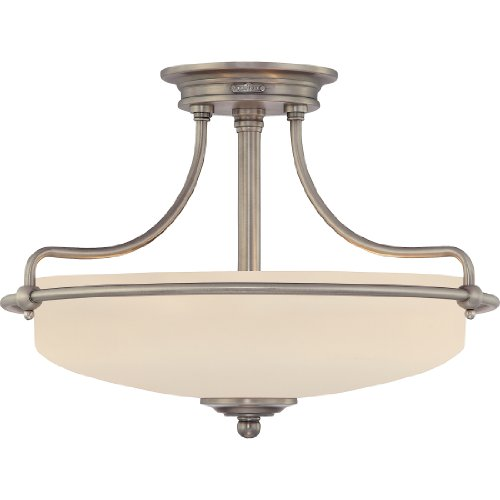 "Quoizel GF1717AN Griffin Semi-Flush Ceiling Lighting, 3-Light, 300 Watts, Antique Nickel (12"" H x 17"" W) from Quoizel"