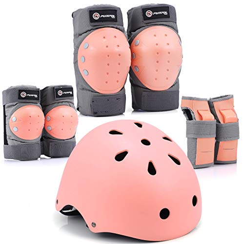Purpol Kids Bike Helmet, Toddler Helmet Adjustable for Kids Youth, Knee Pads Elbow Pads Wrist Guards Kids Protective Gear Set for Skateboard, Bike, Roller Skating, Cycling, Scooter, Rollerblade