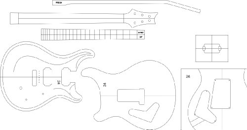 Electric Guitar Layout Template - PRS24