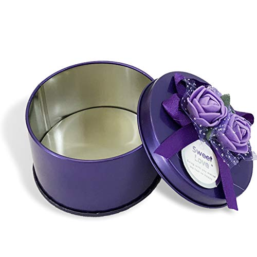 Purple Boxes Favor - Allgala 12-PK Party Favor Container Round Tin Box, Purple with Flower Bows Decoration