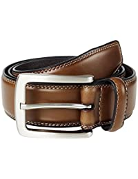 Men's Genuine Leather Classic Stitched Casual Belt - Black Brown Tan