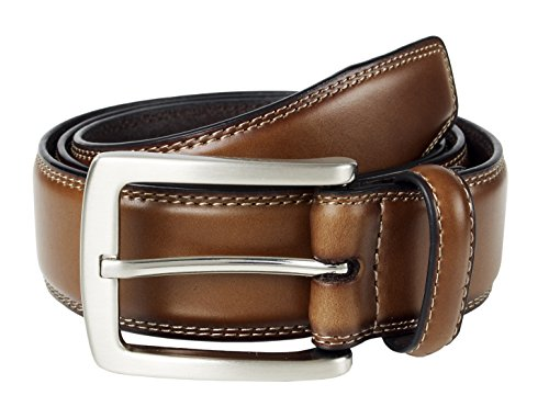 Sportoli Mens Genuine Leather Classic Stitched Casual Belt - Brown (Size 44)