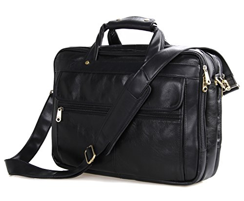 Texbo Men's Black Full Grain Leather Briefcase Messenger Shoulder Laptop Bag by Texbo